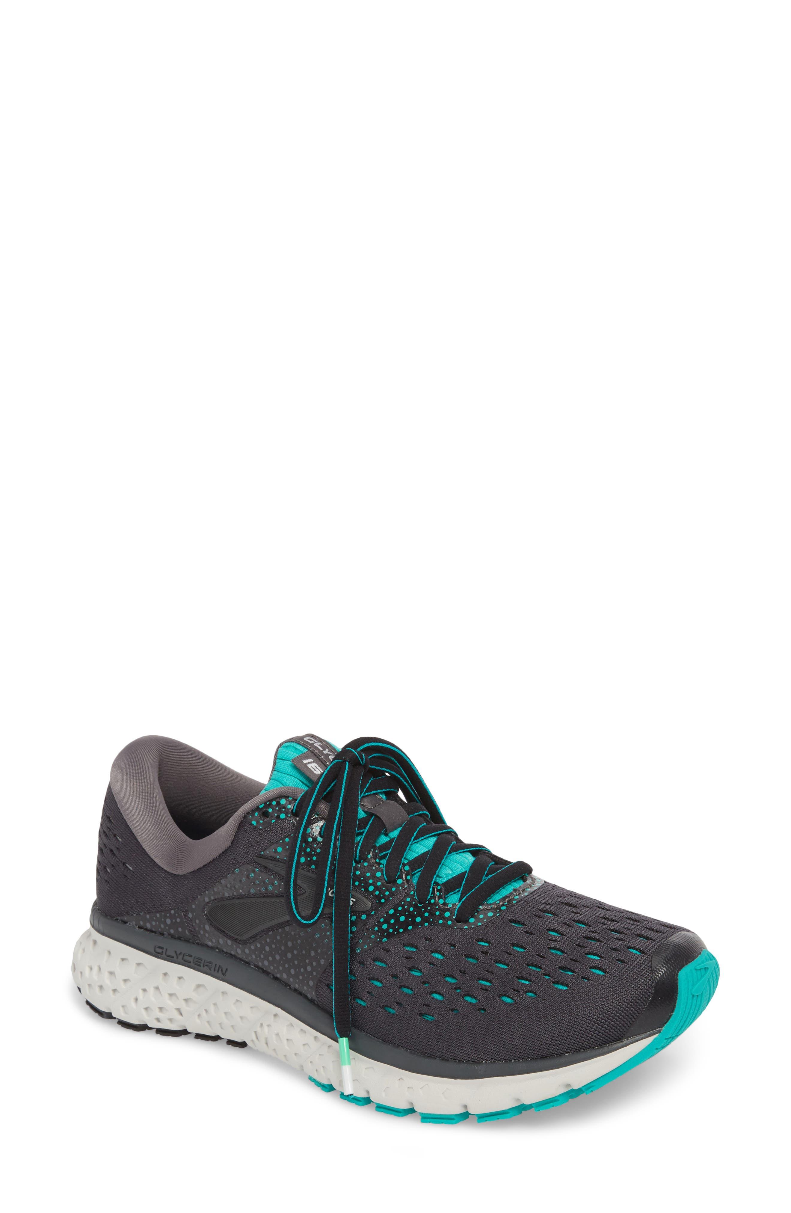 ,                             Glycerin 16 Running Shoe,                             Main thumbnail 1, color,                             EBONY/ GREEN/ BLACK