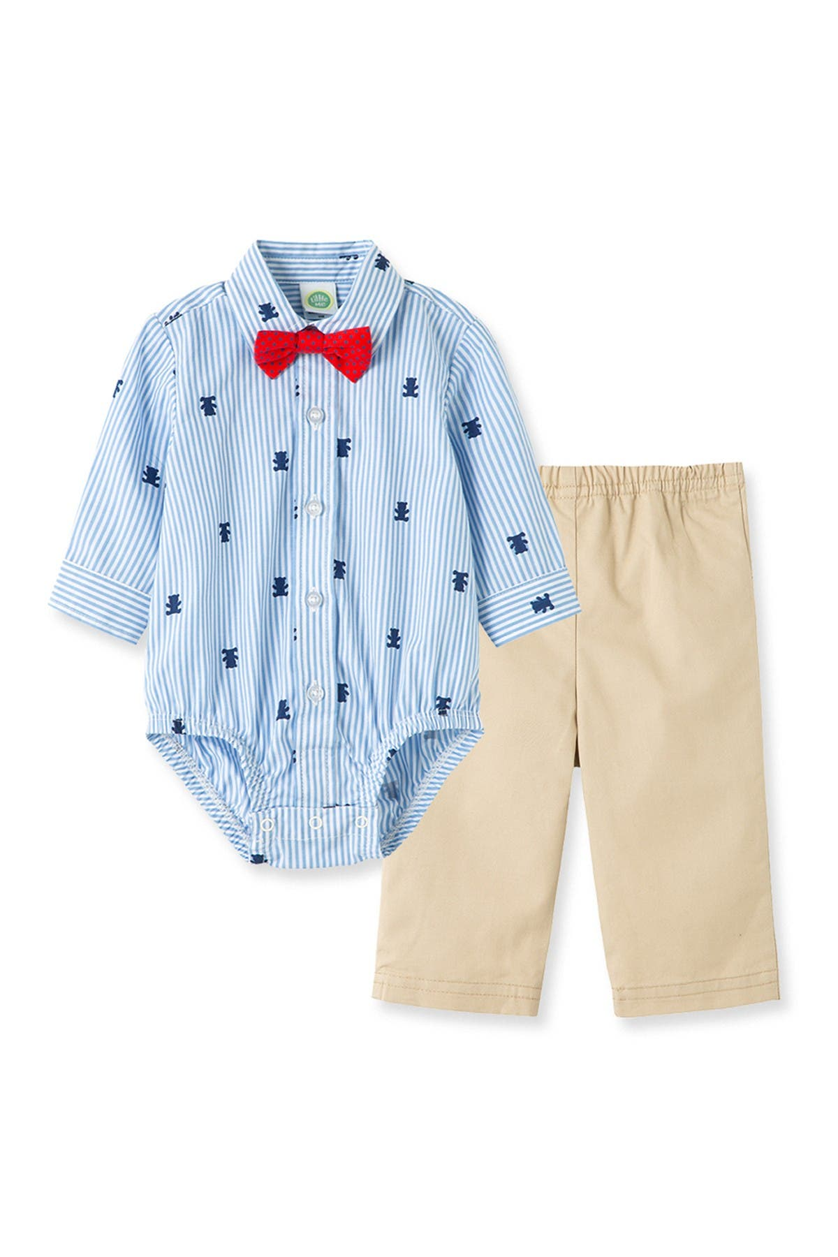 Image of Little Me Bear Print Bodysuit & Pants Set
