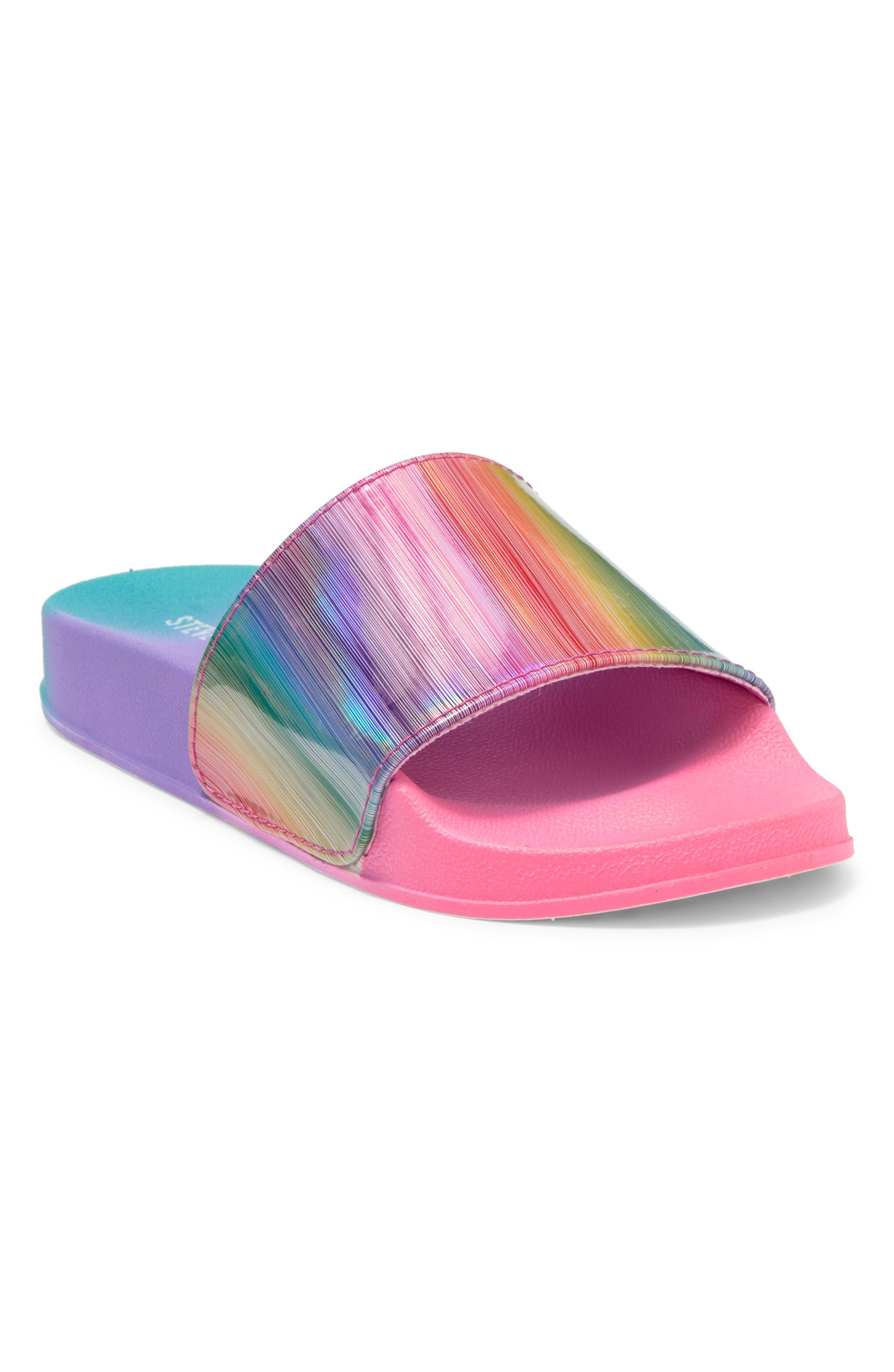 Steve Madden Kids' Flipped Rainbow Slide Sandal In Open Purple32