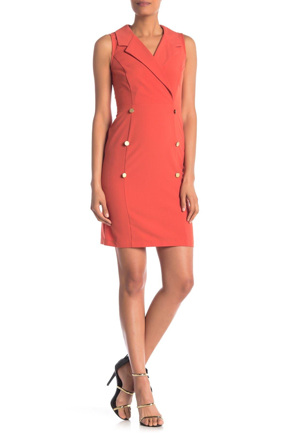 Image of Sharagano Sleeveless Trench Dress