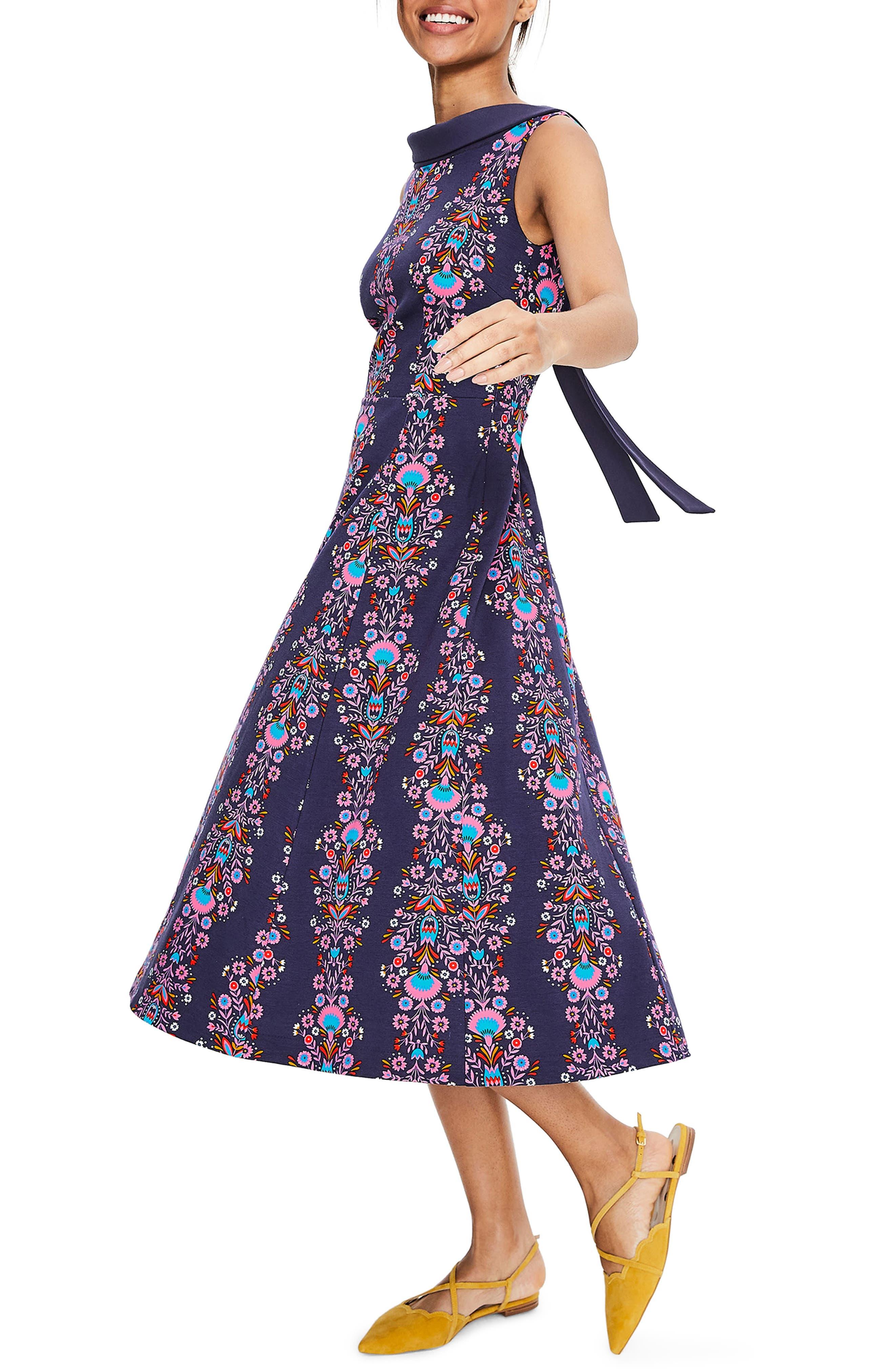Petite Boden Aria Ponte Midi Dress, Blue