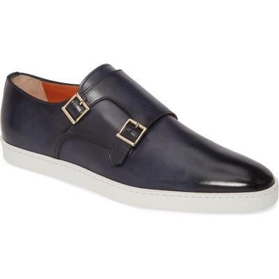 Santoni Fremont Double Monk Strap Shoe - Blue
