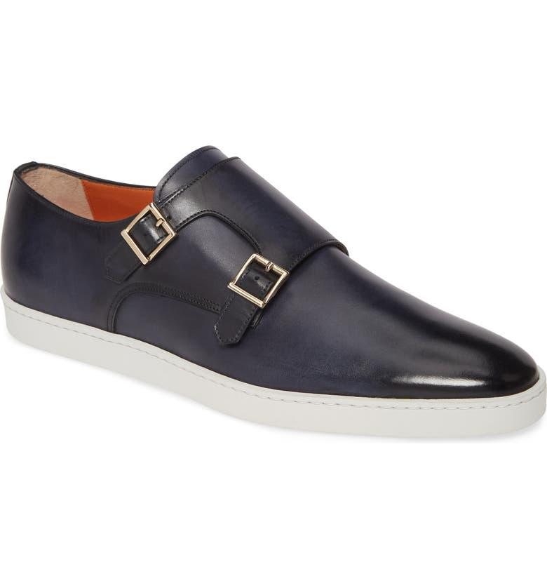 SANTONI Freemont Double Monk Strap Shoe, Main, color, BLUE