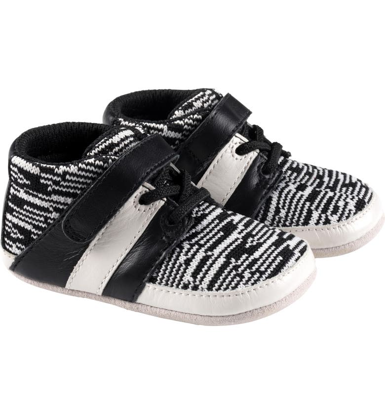 ROBEEZ<SUP>®</SUP> Mason Knit & Leather Sneaker, Main, color, BLACK/ WHITE