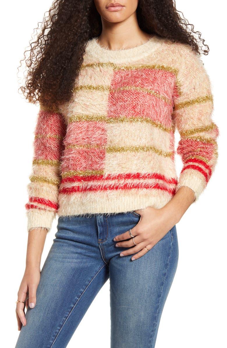 MINKPINK Odessa Metallic Eyelash Chenille Sweater, Main, color, MULTI