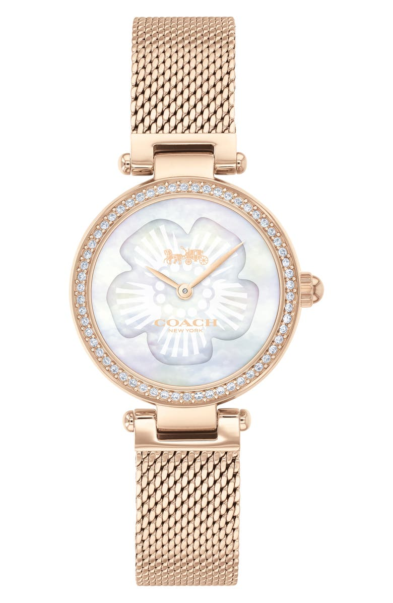 COACH Park Mesh Strap Watch, 26mm, Main, color, CARNATION GOLD/ WHITE MOP