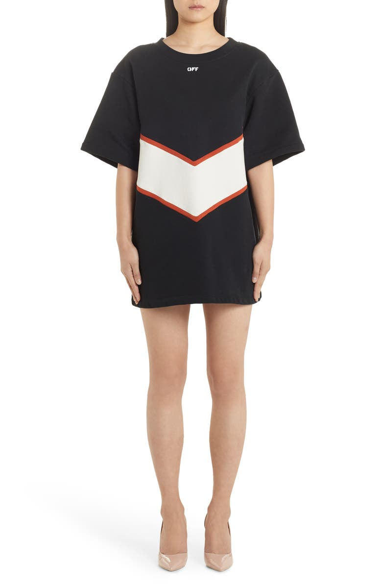 OFF-WHITE Short Sleeve Sweatshirt Dress, Main, color, 001