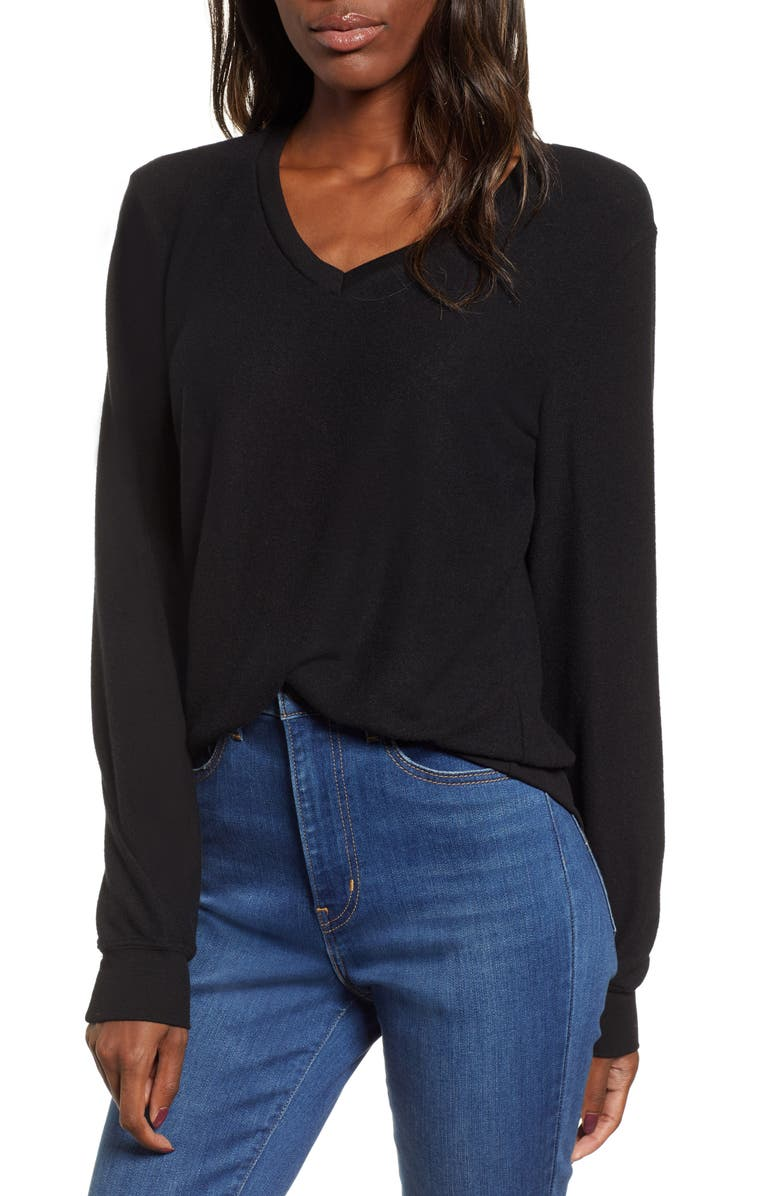 WILDFOX Baggy Beach V-Neck Top, Main, color, JET BLACK