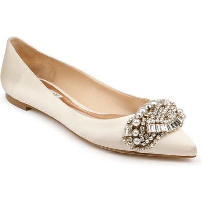 Badgley Mischka Octavia Crystal Embellished Skimmer Flat- Ivory