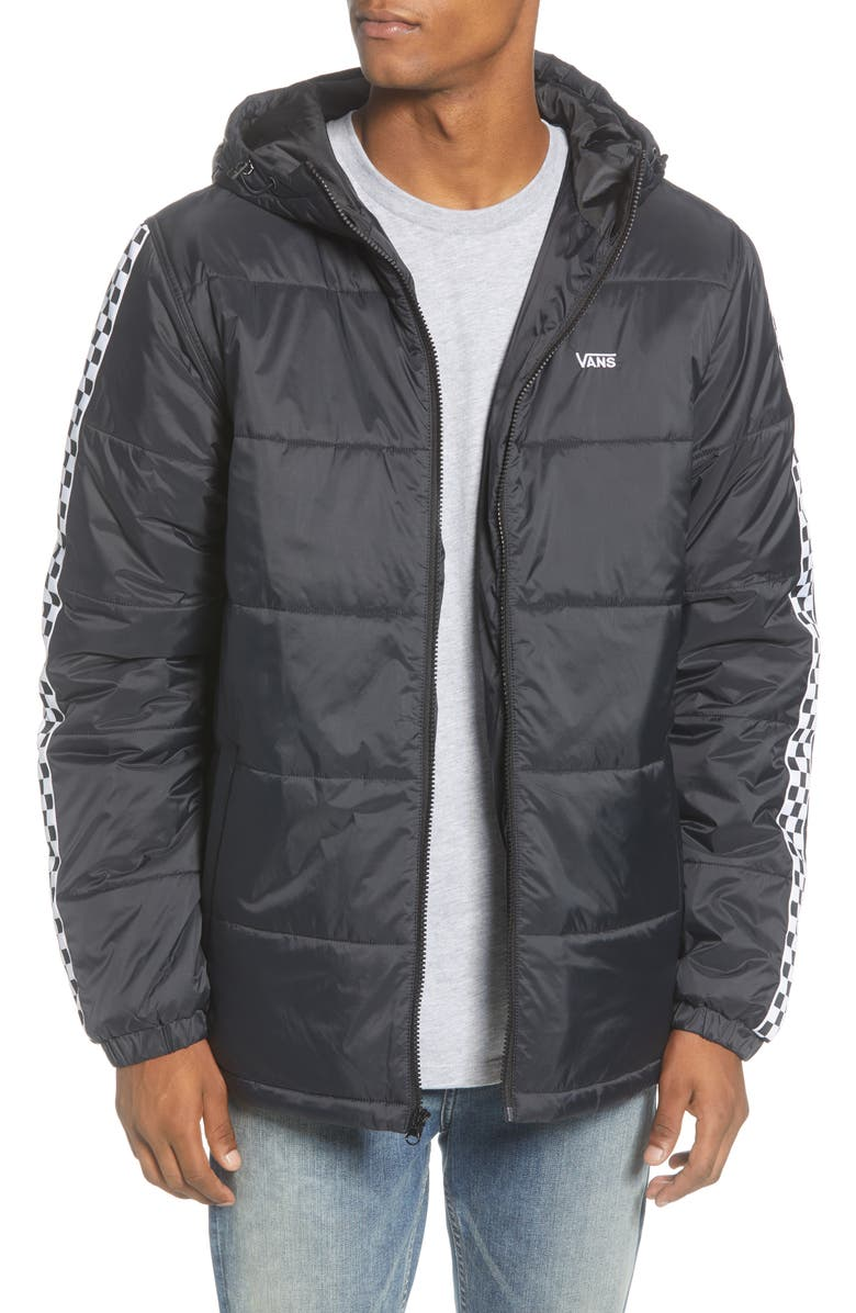 VANS Woodridge Water Resistant Hooded Nylon Puffer Jacket, Main, color, 001