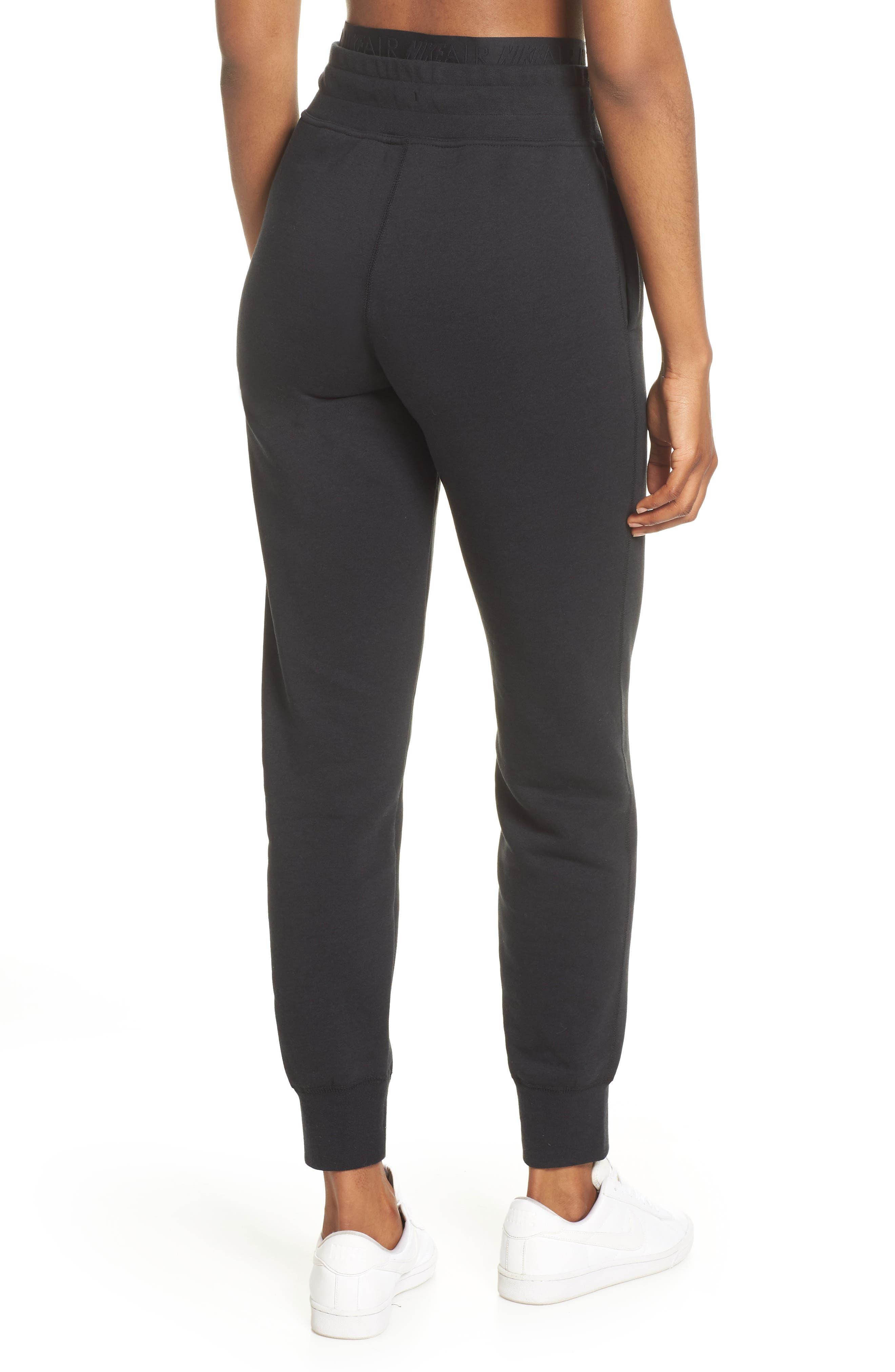 ,                             Sportswear Air Fleece Jogger Pants,                             Alternate thumbnail 2, color,                             BLACK/ WHITE