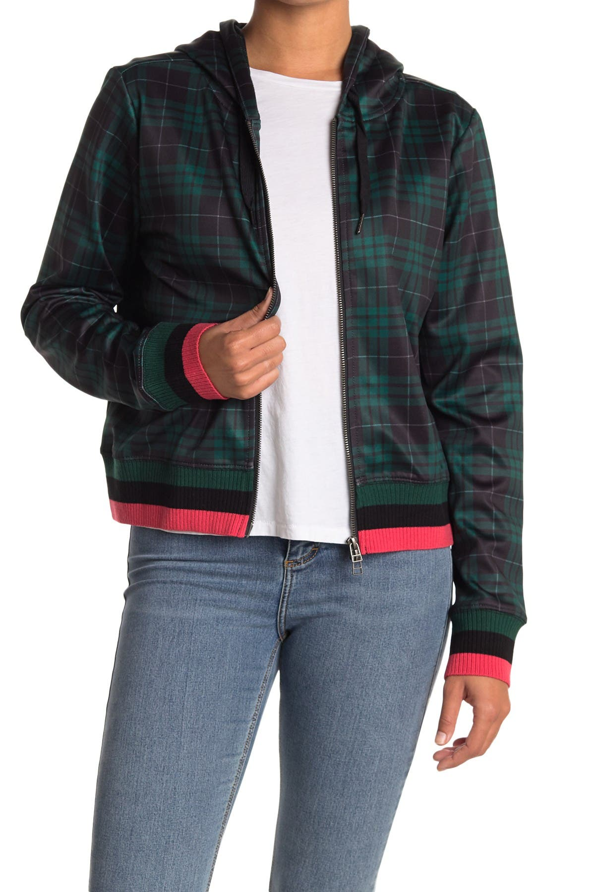 Image of PAM AND GELA Stuart Plaid Zip Hoodie