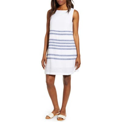 Beachlunchlounge Alina Stripe Linen & Cotton Shift Dress, White