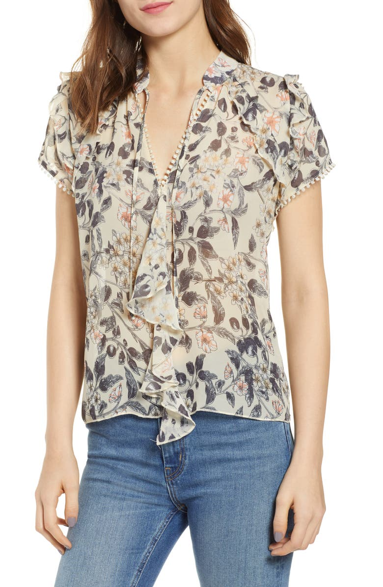 BISHOP + YOUNG Floral Ruffle Sleeve Top, Main, color, PRINT