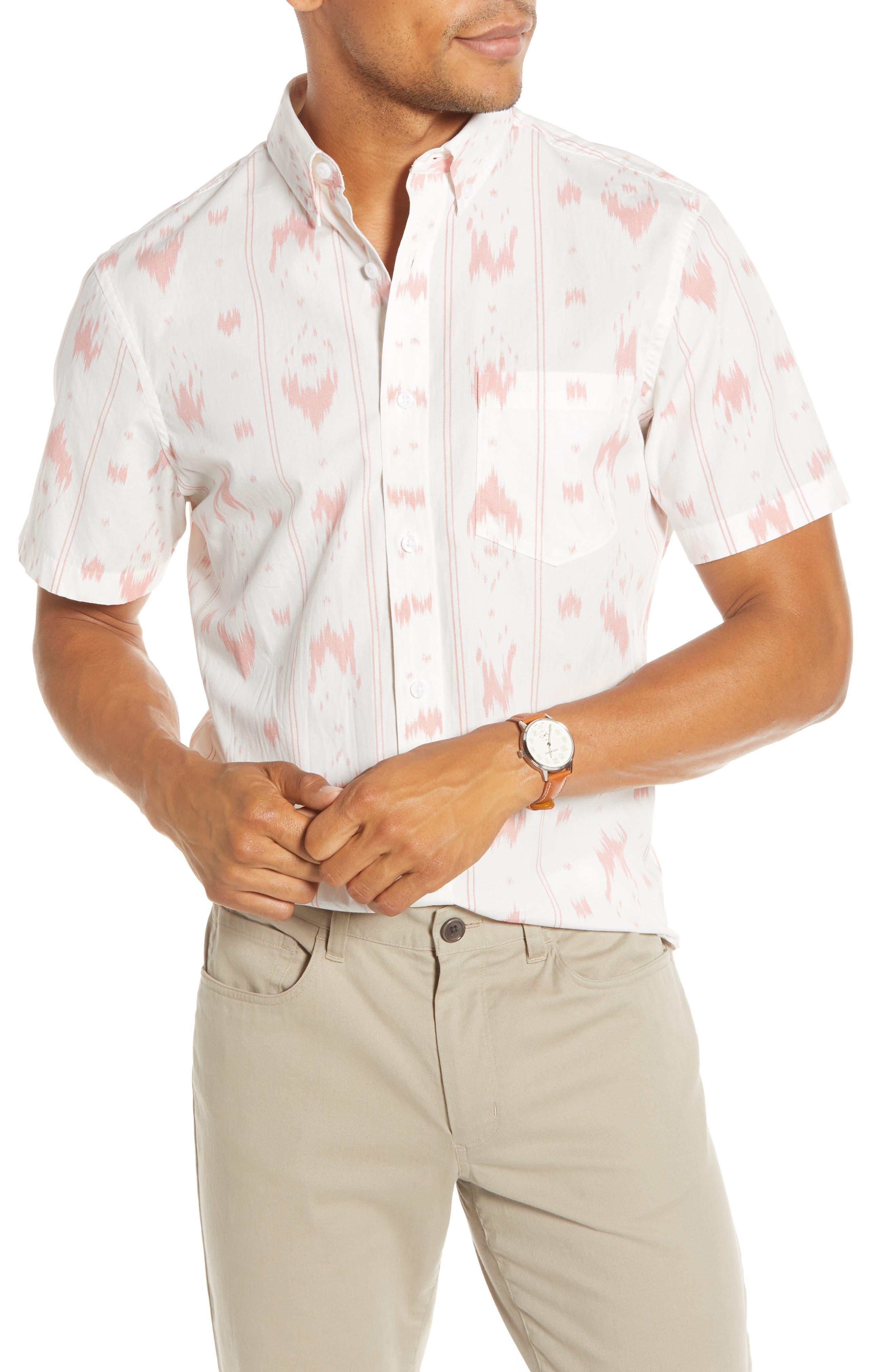 1901 Trim Fit Short Sleeve Button-Down Sport Shirt, Ivory