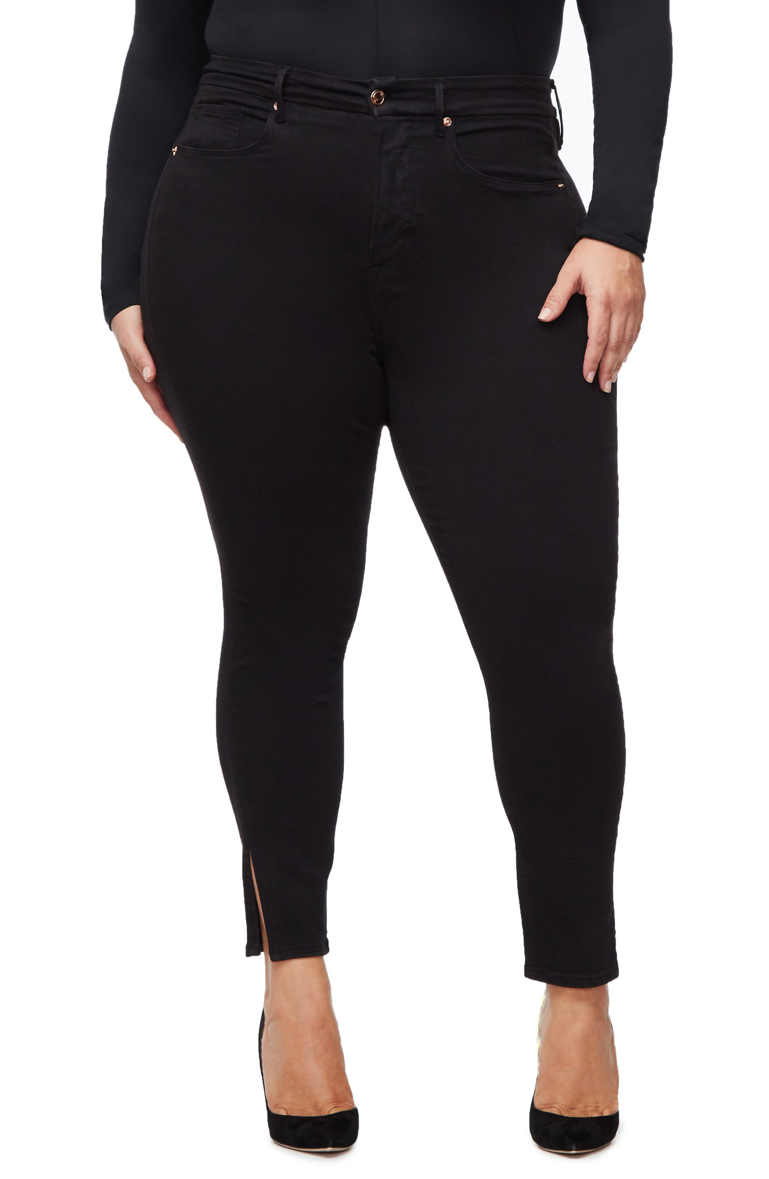 ,                             Good Legs Split Hem Ankle Skinny Jeans,                             Alternate thumbnail 4, color,                             BLACK001