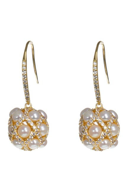 Image of CZ By Kenneth Jay Lane CZ & 4mm Freshwater Pearl Ball Earrings