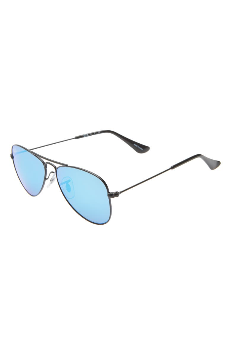 RAY-BAN Junior 50mm Mirrored Aviator Sunglasses, Main, color, BLACK/ BLUE MIRROR