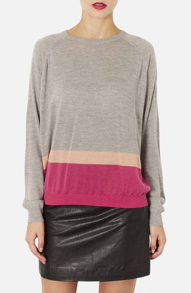 TOPSHOP Colorblock Merino Wool Sweater, Main, color, 020