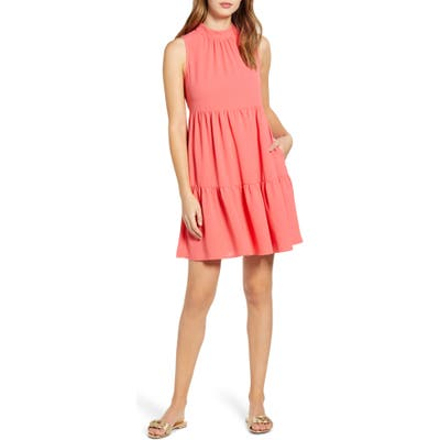 Gibson X The Motherchic Lakeshore Tiered Dress, Coral