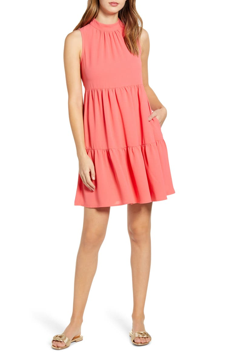 GIBSON x The Motherchic Lakeshore Tiered Dress, Main, color, SUNKISSED CORAL