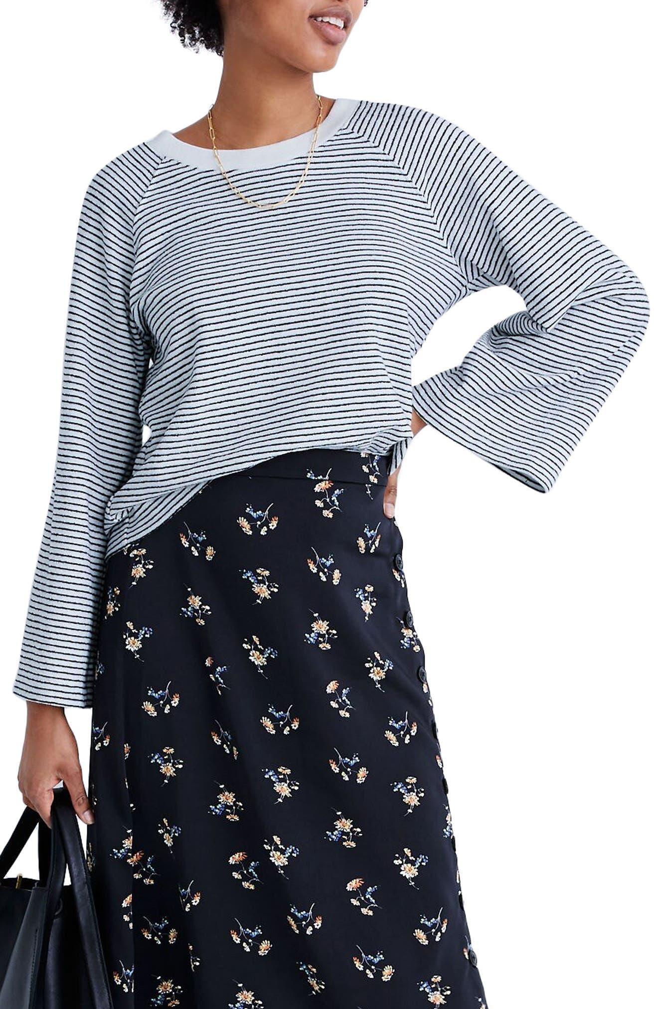 Madewell Stripe Terry Raglan Sweatshirt | Nordstrom