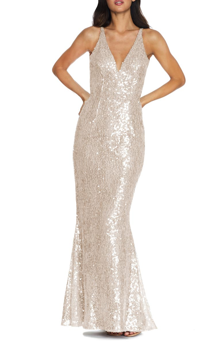DRESS THE POPULATION Sharon Lace Sequin Plunge Neck Mermaid Gown, Main, color, OFF WHITE