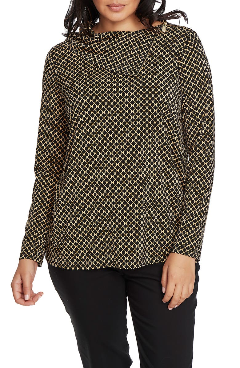 CHAUS Roma Fences Split Zip Collar Top, Main, color, RICH BLACK