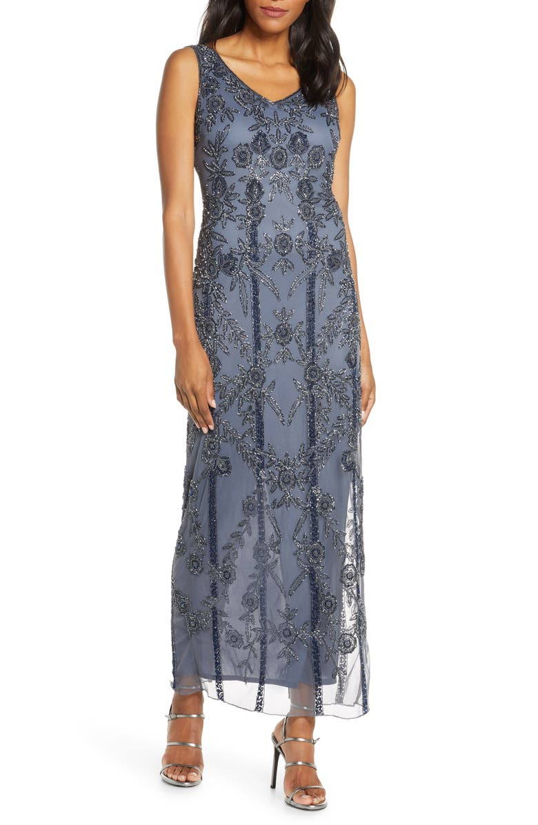 PISARRO NIGHTS Beaded Mesh Gown, Main, color, GREY