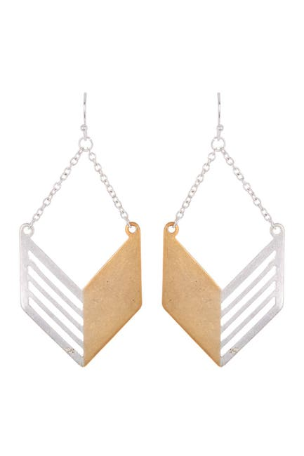 Image of AREA STARS Two-Tone Chevron Chain Drop Earrings