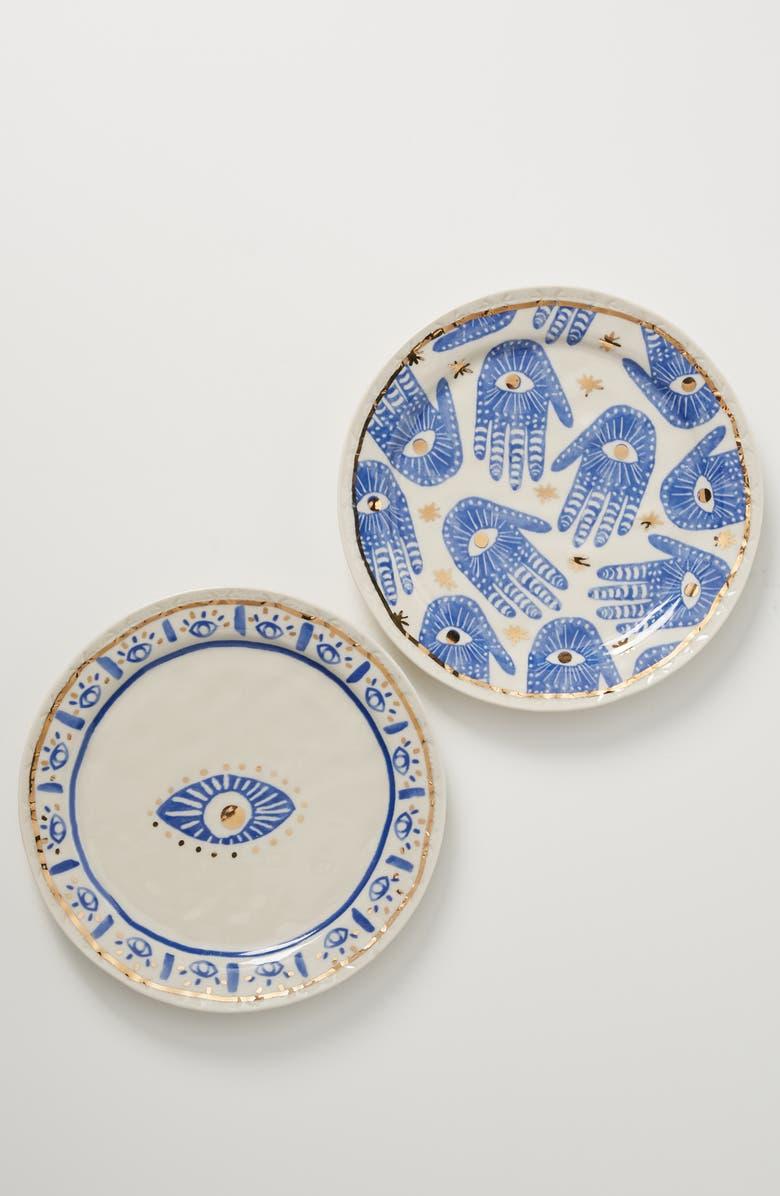 ANTHROPOLOGIE Hamsa Plate, Main, color, BLUE HAND