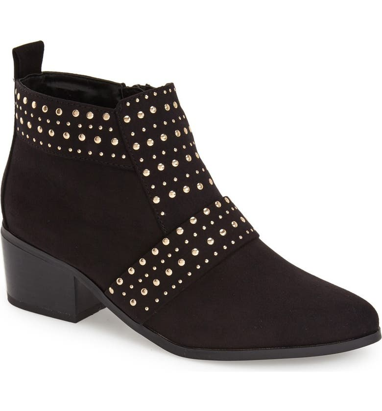 TOPSHOP 'Buddy' Studded Bootie, Main, color, 001