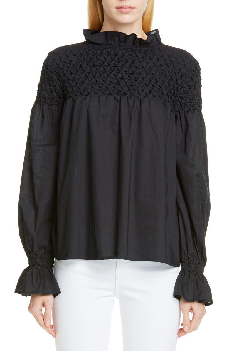 MERLETTE Majorelle Smocked Blouse, Main, color, BLACK