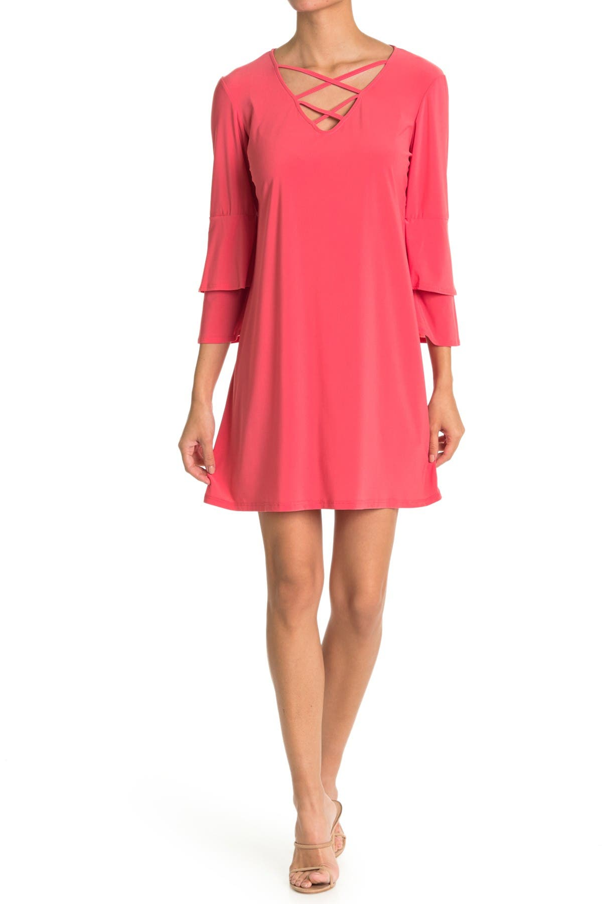 Image of TASH + SOPHIE Strappy Tiered Sleeve Shift Dress