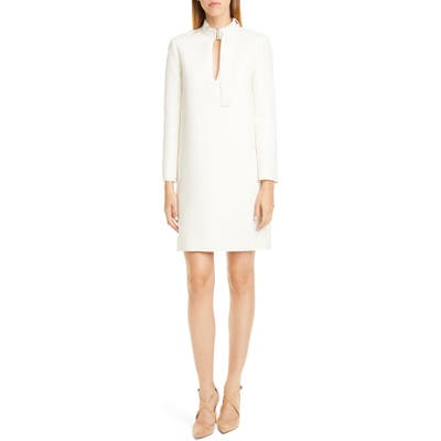 Rosetta Getty Belted Neck Long Sleeve Shift Dress, Ivory