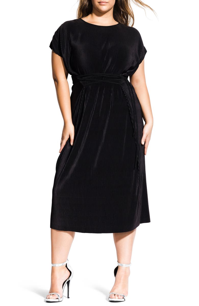 CITY CHIC Pleated Midi Dress, Main, color, BLACK