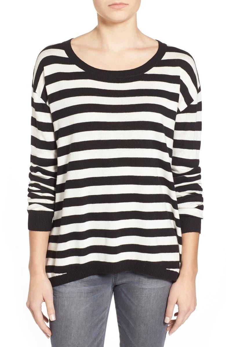 BP. Stripe Scoop Neck Pullover, Main, color, 001