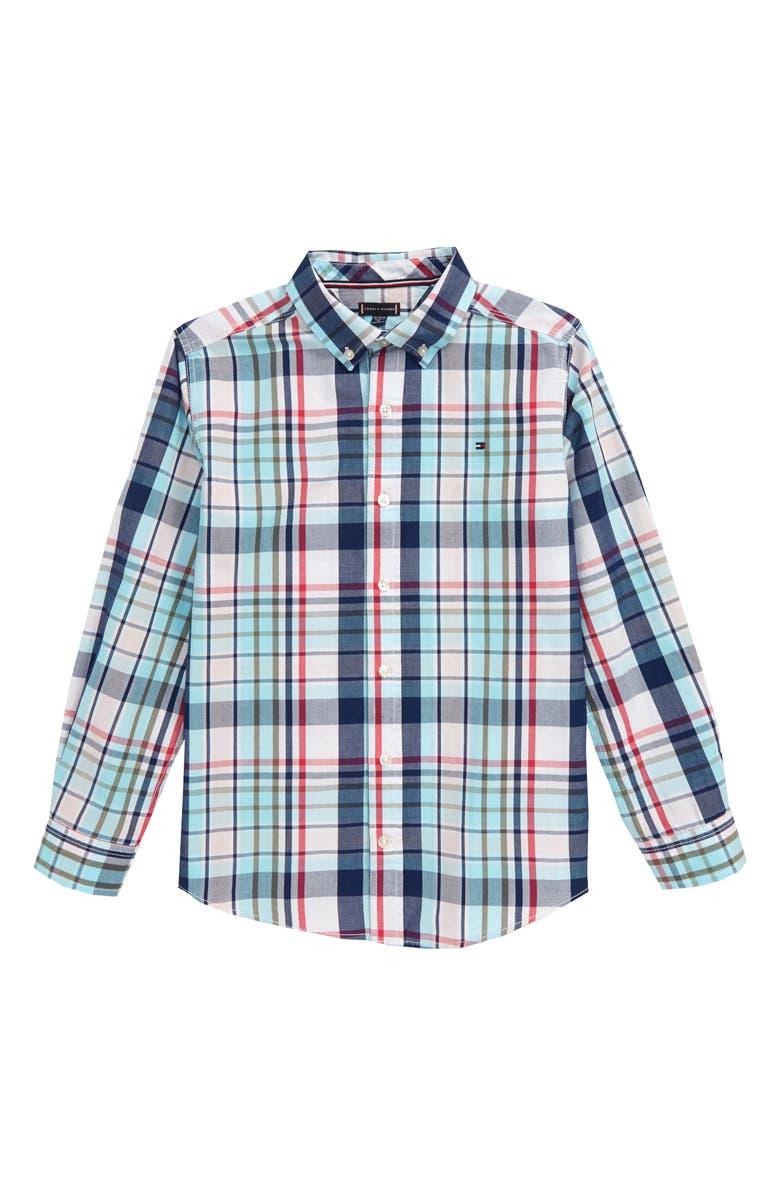 TOMMY HILFIGER Zander Plaid Button-Up Shirt, Main, color, 100