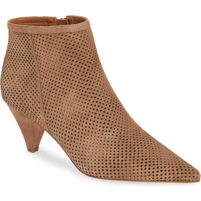 Sarto By Franco Sarto Bobbi Perforated Pointy Toe Bootie- Beige