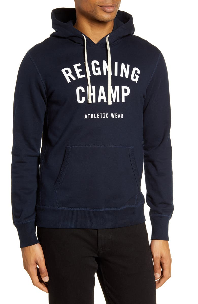 REIGNING CHAMP Gym Logo Hooded Sweatshirt, Main, color, 416