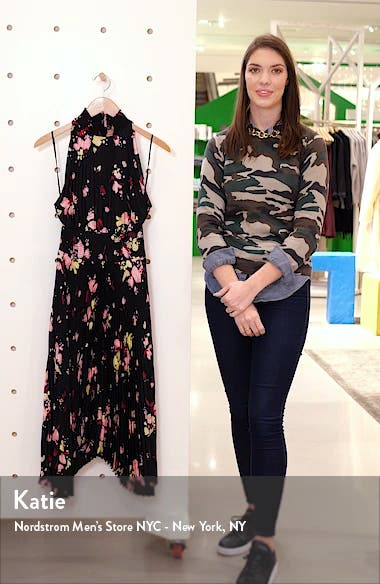 Renzo Floral Pleated Midi Dress, sales video thumbnail