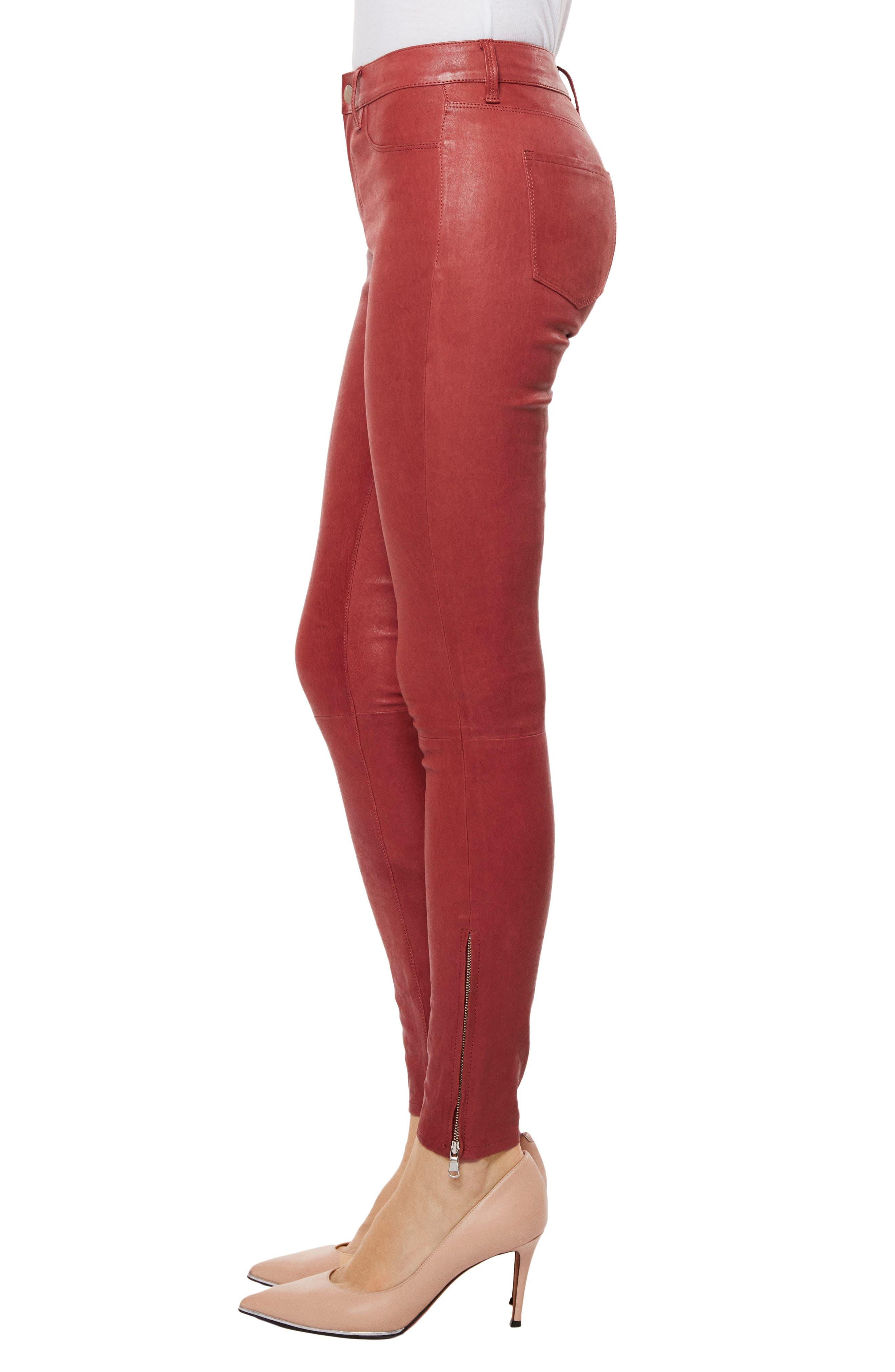 ,                             '8001' Lambskin Leather Pants,                             Alternate thumbnail 28, color,                             601