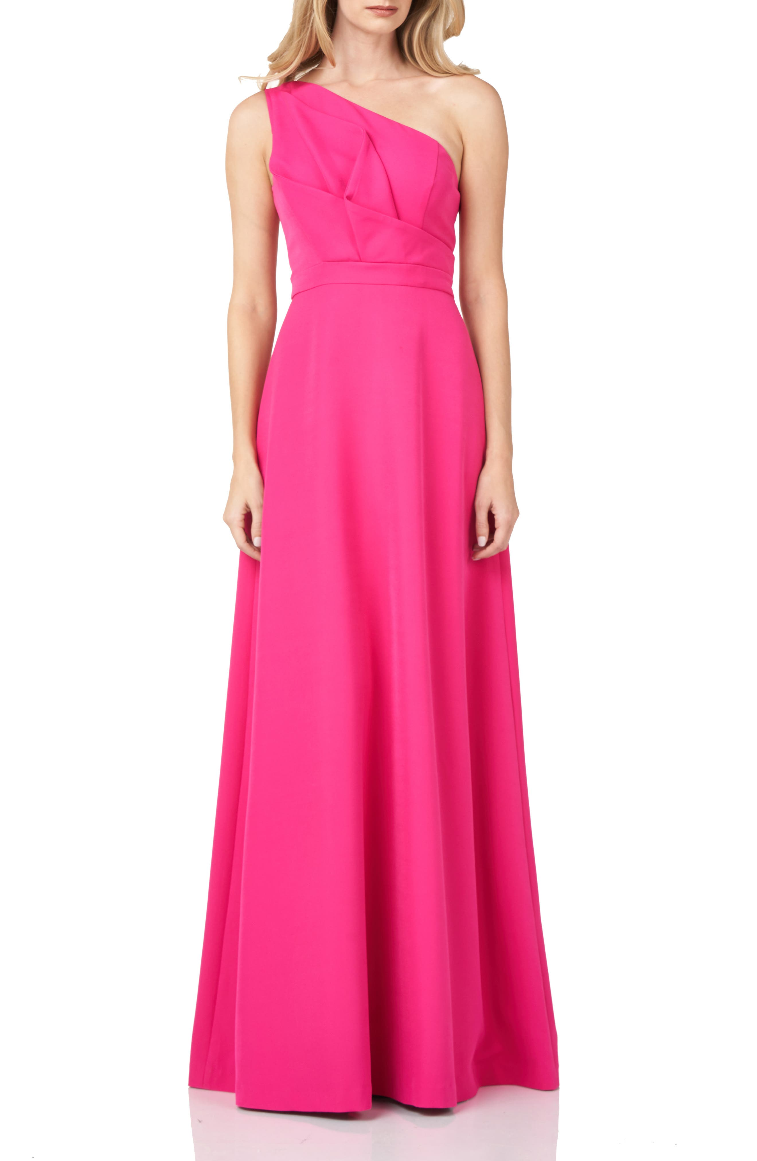 One-Shoulder Stretch Crepe Gown