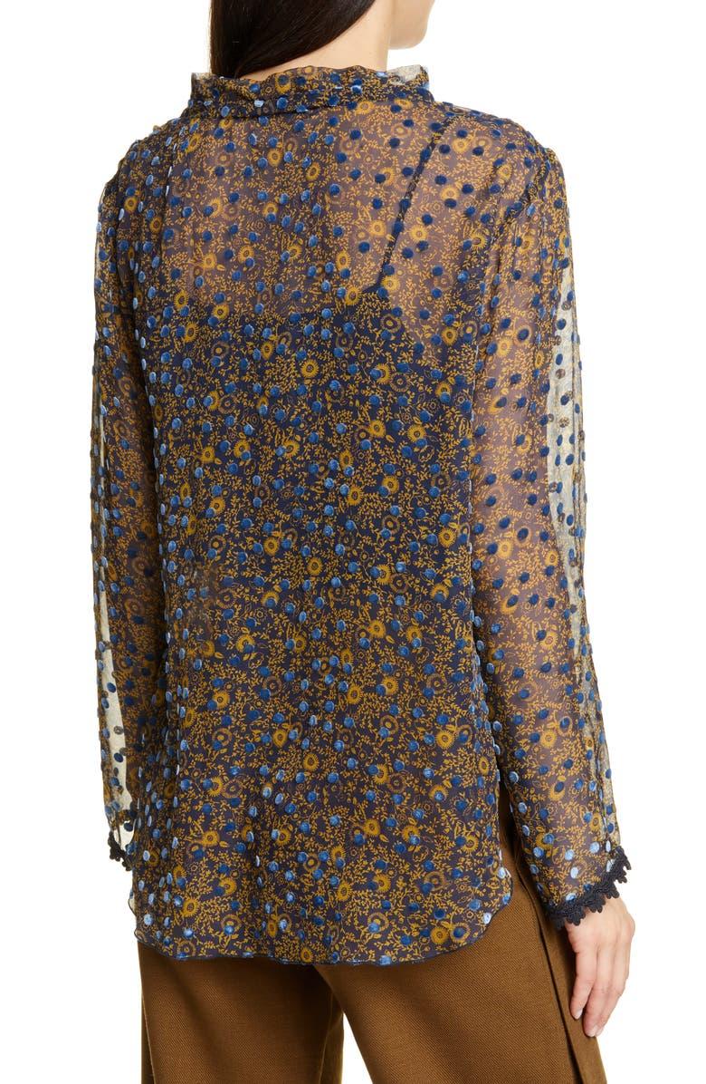 SEE BY CHLOÉ Floral Print Silk Devoré Top, Main, color, MULTICOLOR BLUE