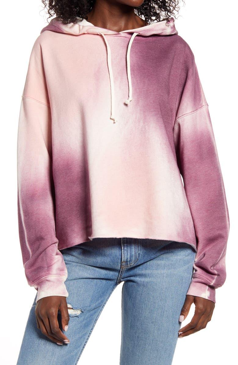 TREASURE & BOND Tie Dye Hooded Sweatshirt, Main, color, PINK- BEIGE COMBO