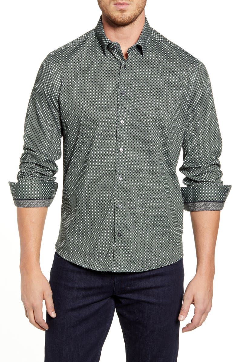 STONE ROSE Regular Fit Button-Up Shirt, Main, color, OLIVE