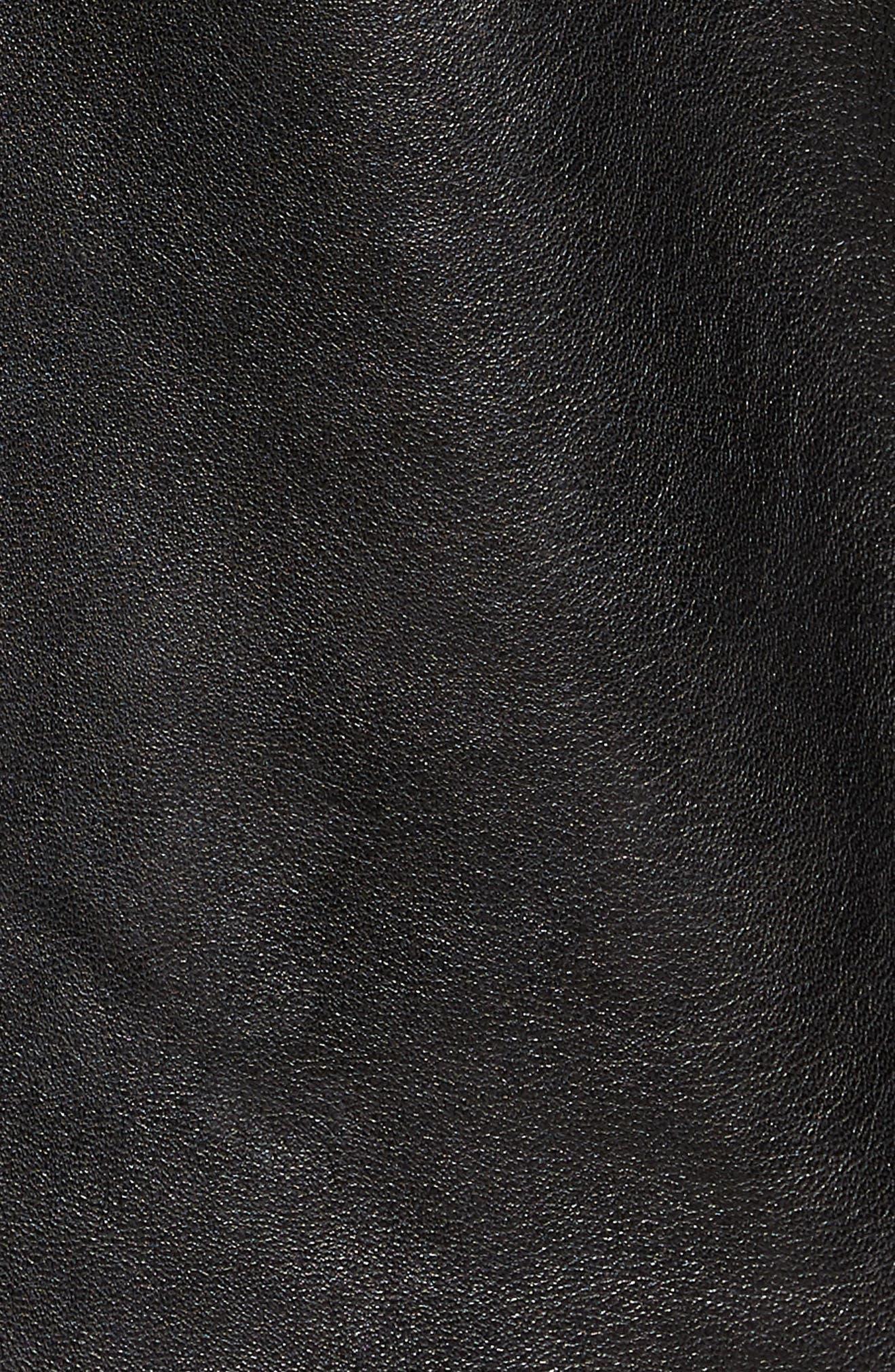 ,                             Leather Racer Jacket,                             Alternate thumbnail 5, color,                             BLACK
