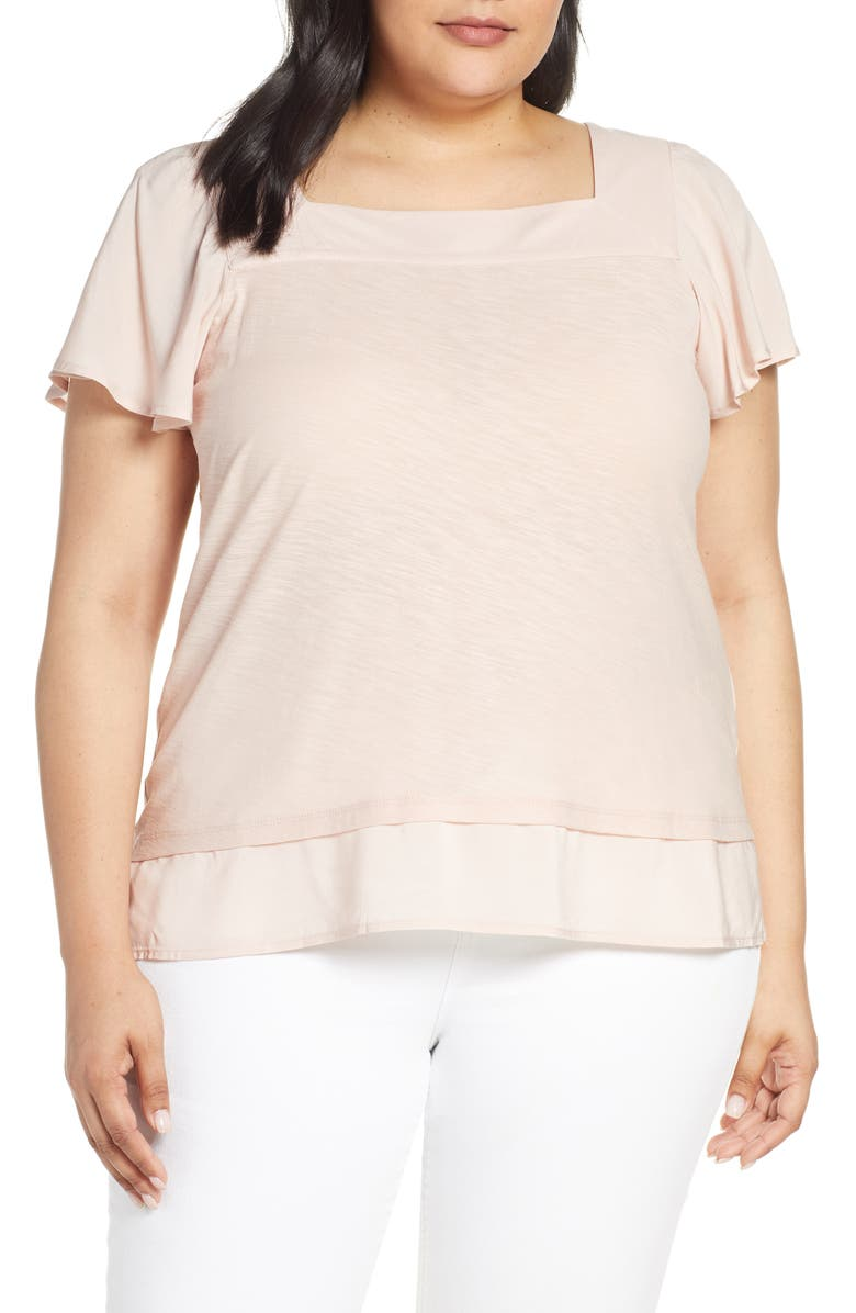 VINCE CAMUTO Square Neck Layered Top, Main, color, 835