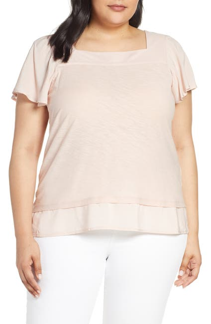 Image of Vince Camuto Square Neck Layered Top