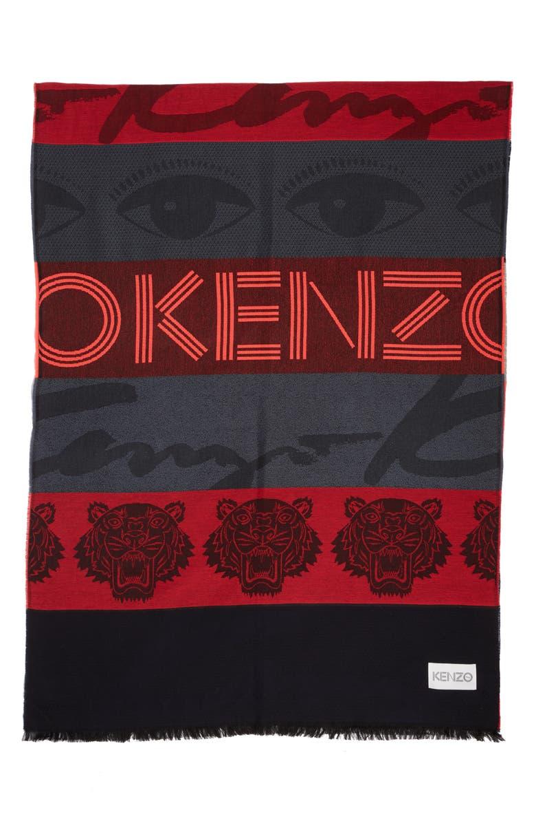 KENZO Multi Icons Stripe Stole, Main, color, MEDIUM RED